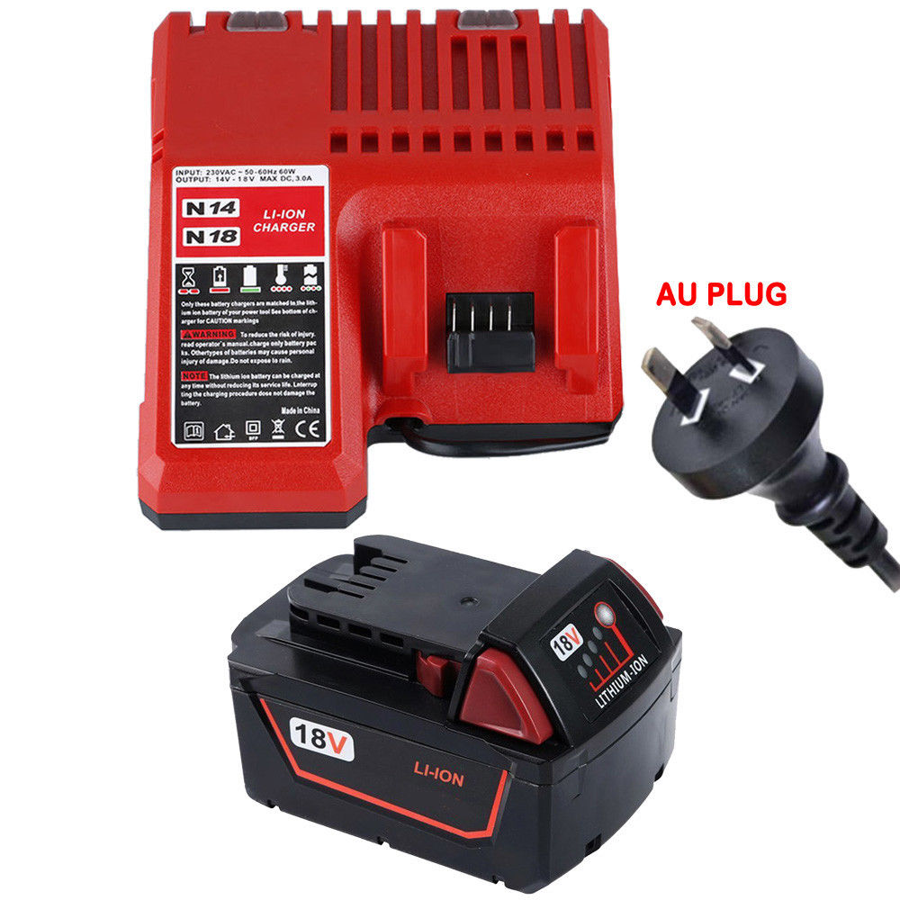 3000mAh 18V Li-Ion Akku + laturi for MILWAUKEE M18 48-59.99-1812 1840